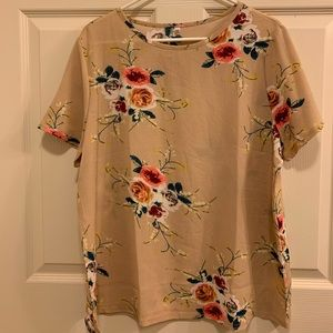 Tan top with floral print